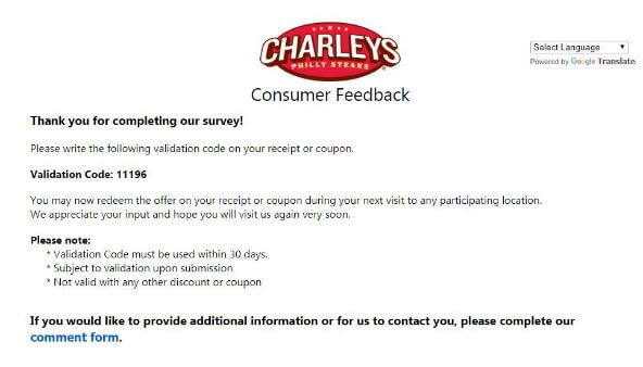 win free tell charlys survey